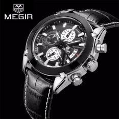 100 Brand New Megir 2020G Analog 3 Sub Dials Waterproof Luminous Chronograph Quartz Wrist Watches With Leather Strap Black Intl China