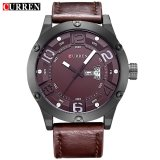 Top Rated 100 Genuine Curren 8251 Men S Round Analog Wrist Watch With Three Decorated Sub Dial Alloy Case Faux Leather Band For Men