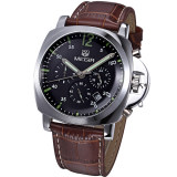 Price Comparisons For 100 Original Megir 3006 Stainless Steel Case Men Male Fashion Business Sport Casual Army Military Wrist Quartz Watch Chronograph Stopwatch Function Black Dial Brown Leather Strap Intl