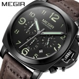 Top 10 100 Original Megir Stainless Steel Case Genuine Leather Strap Men Male Fashion Business Sport Casual Army Military Wrist Quartz Watch Chronograph Timer Date Calendar 3406 Intl