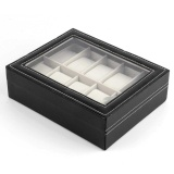 Price Comparison For 1X Black Wrist Watch Box Pu Leather Jewelry Storage Holder Display Box 10 Slots Intl