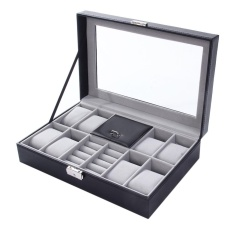 Discount 2 In One 8 Grids Watch Storage Organizer Box And Ring Collection Boxes Black Intl Oem