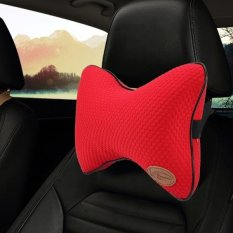 2 Pcs Kcb Car Auto Season Universial Cotton Neck Rest Cushion Leather Head Pillow Mat Red Intl Online