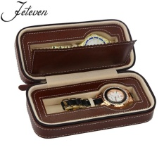 The Cheapest 2 Slot Travel Watch Box Superior Pu Leather Storage Case Display Organizer Gift Brown Intl Online