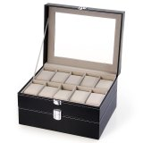 Promo 20 Grids Watch Box Pu Leather Jewelry Watch Display Storage Case Black