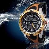 Buy 2016 Best Quality Sanda 703 Outdoor Sports Multifunctional Dual Display Noctilucent Watch Gold Sanda