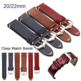 Sale 20Mm Lichee Pattern Blue Vintage Calf Leather Wrist Watch Band Strap Belt Buckle Intl Online China