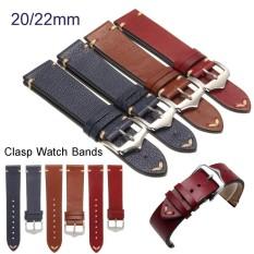 Promo 20Mm Lichee Pattern Blue Vintage Calf Leather Wrist Watch Band Strap Belt Buckle Intl