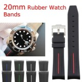 New 20Mm Rubber Curved Ends Watch Strap For Rolex Intl