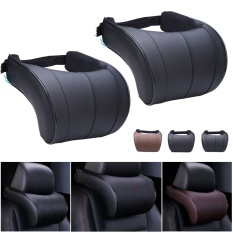 Coupon 2Pc Leather Seat Headrest Pad Auto Car Travel Relax Neck Rest Memory Foam Pillow Intl