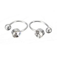 2pcs Crystal Rhinestone Nose Ear Lip Ring Cuff Clip On Earring Uni White Intl