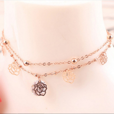2Pcs Gold Double Chain Anklet Bracelet Ankle Foot Jewelry Barefoot Beach Anklet - intl
