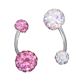 2Pcs Stainless Steel Crystal Rhinestone Women Belly Navel Ring Dangle Bar Stud Export Intl Compare Prices