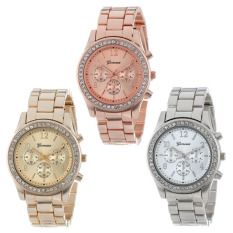 3 Pack Silver Gold And Rose Gold Plated Classic Round Ladies Watch For Sale Online