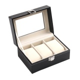 Discount 3 Slots Wrist Watch Display Case Box Jewelry Storage Organizer With Cover Black Intl