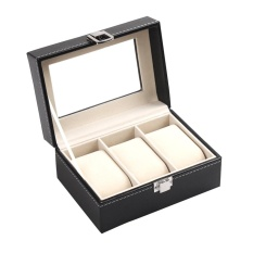3 Slots Wrist Watch Display Case Box Jewelry Storage Organizer With Cover Black Intl On China
