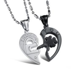 "360DSC One Pair Hollow Out Stainless Steel Couples Pendant I Love You"" Heart Shape Key"