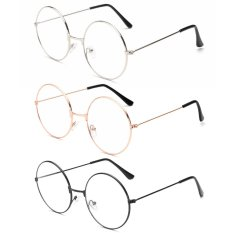 3pairs Unisex Retro Round Eyeglasses 3 Different Color Circle Metal Frame Clear Lens Glasses For Women Men - Intl By Vococal Shop.