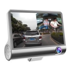 Latest 4 Hd 1080P Daul Lens Car Dvr Dash Cam G Sensor Video Recorder Rearview Camera Sliver Intl