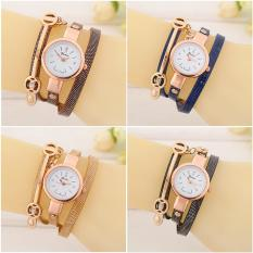 Low Price 4 Pcs Trendy Women Ladies Fashion Wrist Watch Gold Small Dial Three Rounds Female Quartz Watch Intl