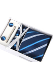 Coupon 4 Piece Necktie Set For Men S Wedding Christmas Gift With Tie Clip Square Towel Cufflinks And Tie Blue
