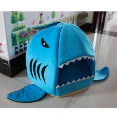 Best Deal 42X42Cm Shark Style Warm Indoor Kitten Dog Cat Bed Soft Pet House With Mat Blue Intl