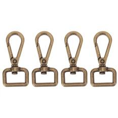 4pcs Vintage Metal Luggage Bag Buckle Snap Hook Bag Clasp DIY Key Chain(Bronze)