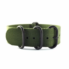 How To Buy 5 Ring Army Green Military Nylon Zulu Strap Black 22Mm
