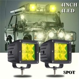 List Price 5D Work Light 4Inch 4Led With Mounting Brackets Dc12V 16W 12 Yellow Flood Spot Intl Not Specified