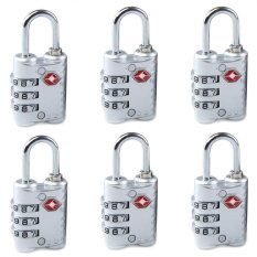 Sale 6 Pcs New Arrive 3 Dial Tsa Approved Security Lock For Travel Luggage Suitcase Bag Silver Oem