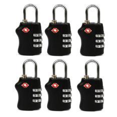 Price 6 Pcs Travel Tsa Lock 3 Digit Combination Luggage Suitcase Lock Padlock Black Oem China