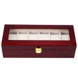 Compare Price 6 Slots Wood Watch Display Case Watches Box Glass Top Jewelry Storage Organizer On China
