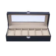Price Comparisons Of 6 Slots Wrist Watch Display Case Box Jewelry Storage Organizer With Cover Intl