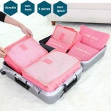 New 7 Elephant 6Pcs Waterproof Travel Storage Bags Clothes Packing Cube Luggage Organizer Pouch Pink Intl