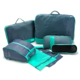 Retail 7Pcs Travel Organizer Storage Bag Sets Packing Cubes Green Grey Intl