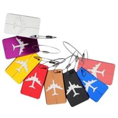 8pcs Aluminum Air Plane Pattern Luggage Tag Baggage Handbag ID Tag Name Card Holder with Key