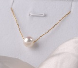 Purchase 925 Sterling Silver 18K Gold Plated Single Akoya Pearl Necklace