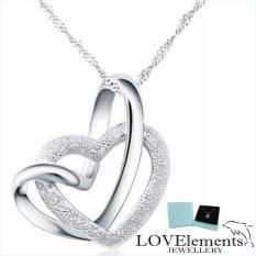 Silver Jewellery My Love Beautiful Twin Hearts Pendant Necklace 17 7 Couples Ladies Fashion By Lovelements™ Jewellery Perfect Gifts In Stock