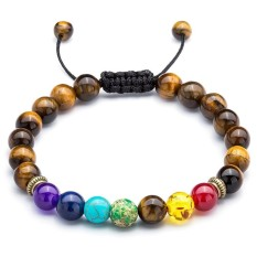 cdc1e2b7e Ai Home Men Women 8mm Tiger's Eye Rock 7 Chakras Beads Bracelet Braided  Rope Natural Stone