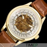 Best Price All Black Dress Watch Gold Men Mechanical Hand Wind Watch Mens Wristwatches