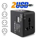 Buy All In One Universal Travel Adapter Switch Plug Adapter With 2 Usd Led Indicator For Au Us Uk Eu Converter Usb Wall Power Socket Intl Online