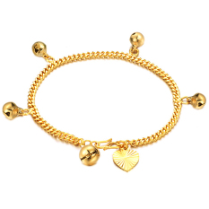 Amart 18k Gold Small Bell Pendant Twisted Round Exquisite Jewelry Women Bracelets (export).