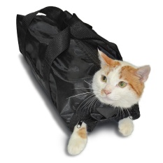 Anself Polyester Cat Grooming Bag Restraint Bag Cats Nail Clipping Cleaning Grooming Accessory Pet Supply Black - Intl By Tomtop.