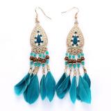 Sale Antique Bohemia Beads Tassel Vintage Drop Leaves Earrings Blue Intl China
