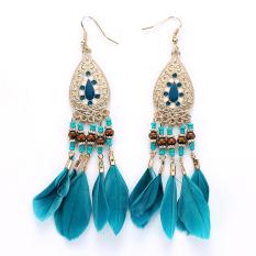 Antique Bohemia Beads Tassel Vintage Drop Leaves Earrings Blue Intl Reviews