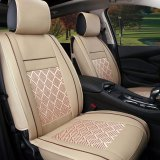 Auto Seat Covers Flame Retardant Pu Leather And Ice Silk All Seasons Full Seat Covers Beige Intl Best Price