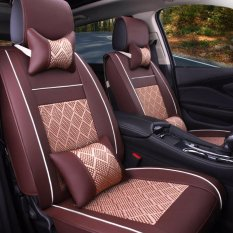 Auto Seat Covers Flame Retardant Pu Leather And Ice Silk All Seasons Full Seat Covers Coffee Intl Online