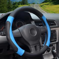Auto Steering Wheel Covers Diameter 15 Inch Pu Leather For Full Seasons Black And Blue Lowest Price