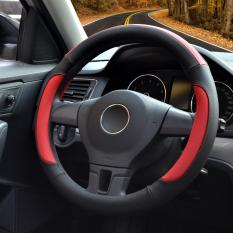 Get Cheap Auto Steering Wheel Covers Diameter 15 Inch Pu Leather For Full Seasons Black And Red M Intl