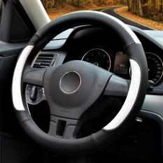 Compare Price Auto Steering Wheel Covers Diameter 15 Inch Pu Leather For Full Seasons Black And White Luowan On China